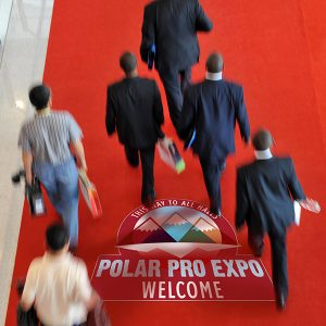 Polar Carpet monomeric PVC film floor graphics onto carpet. Polar Carpet is ideal for indoor floor graphic advertising at tradeshows, point-of-sale or furniture stores.