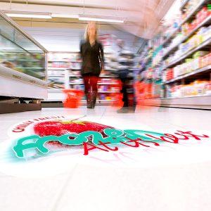 SpotOn Floor 200 non-slip floor graphics has R-10 anti-slip rating for slip-resistant floor graphics