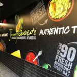 Toronto-based Lamin-8 used Drytac's ReTac Smooth 75 polymeric PVC film for the project at its local branch of Jimmy Guaco's