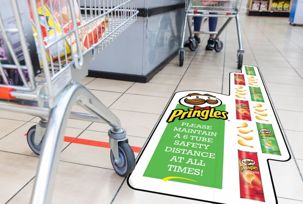 The future of floor graphics with Drytac; pringles can social distancing example in grocery store.